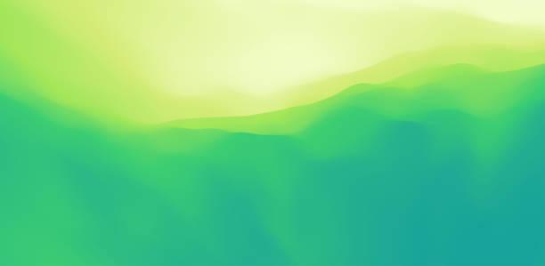 Landscape with green mountains. Mountainous terrain. Abstract nature background. Vector illustration. vector art illustration