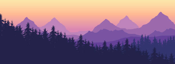 Landscape with high mountains and coniferous forest in multiple layers, under yellow purple sky and space for text - vector Landscape with high mountains and coniferous forest in multiple layers, under yellow purple sky and space for text - vector adventure backgrounds stock illustrations