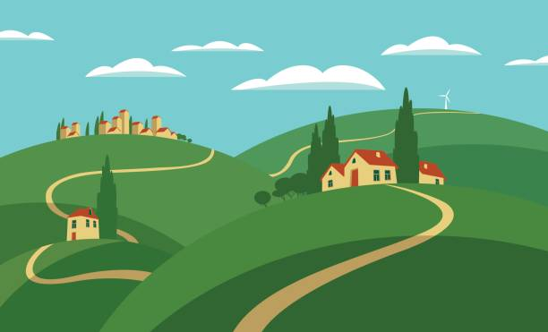 Town Landscape Vector Illustration: Best Rural Town Illustrations, Royalty-Free Vector