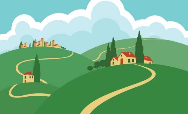 ilustrações de stock, clip art, desenhos animados e ícones de landscape with hills, roads, sky and settlements - driveway, no people