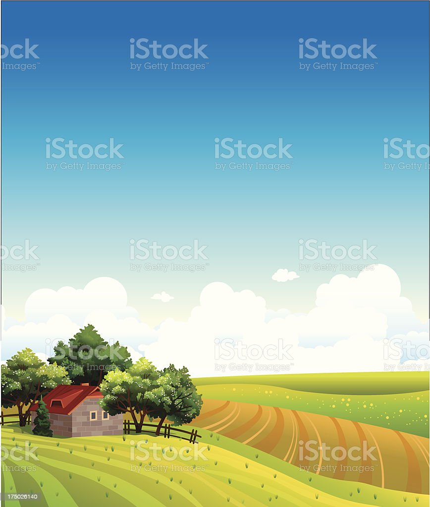 Landscape with house and green field royalty-free stock vector art