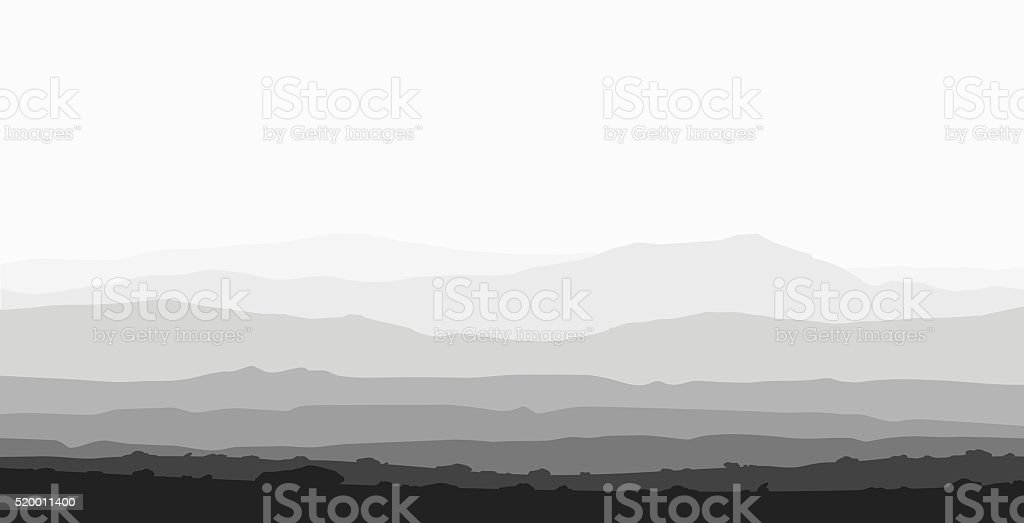 Landscape with huge mountain range. vector art illustration