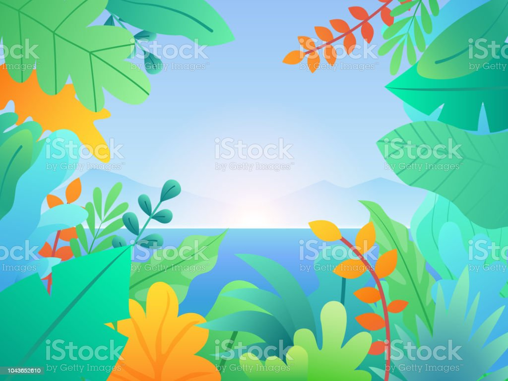 Landscape With Leaves And Plants Floral Background With Sea Hills And Sunset Tropical Background With Palm Leaves Stock Illustration Download Image Now Istock A wide variety of landscaping tropical options are available to you, such as technics, use, and material. landscape with leaves and plants floral background with sea hills and sunset tropical background with palm leaves stock illustration download image now istock