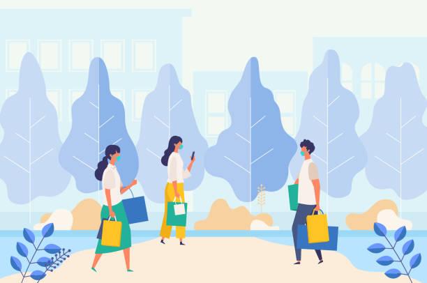 夏の街の通りで買い物袋を運ぶ覆面の人々と風景。新しい正常のモールで季節の販売に参加する男女。 - new normal点のイラスト素材/クリップアート素材/マンガ素材/アイコン素材