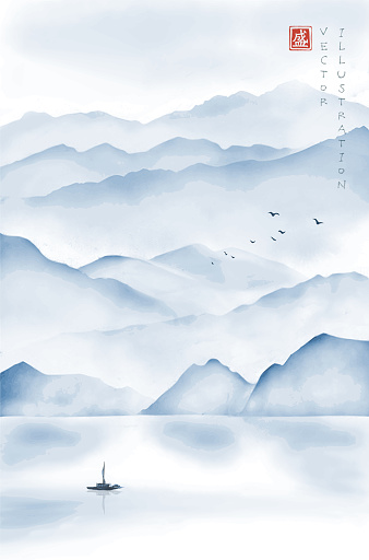 Landscape with misty mountains, fishing boat and flock of birds. Traditional oriental ink painting sumi-e, u-sin, go-hua. Hieroglyph - blossom.