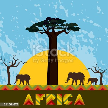 Abstract ethnic pattern, family of elephants, dry trees and baobab silhouettes. African Nature vector illustration.
