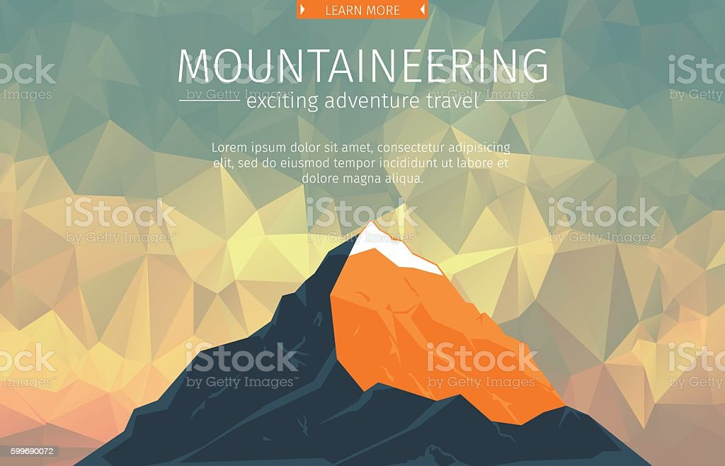 Landscape With Mountain Peak vector art illustration