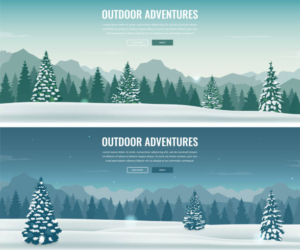 ilustrações de stock, clip art, desenhos animados e ícones de landscape with mountain peaks. winter sport vacation and outdoor recreation. concept website template. vector - tundra