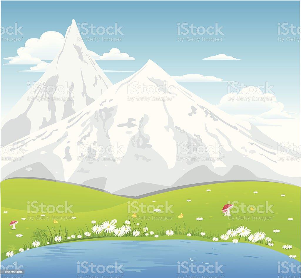 Landscape with mountain vector art illustration