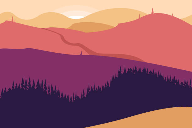 Landscape with mountains and forest. Poster for tourism with the natural environment, national parks, clean environment. Vector illustration. Landscape with mountains and forest. Poster for tourism with the natural environment, national parks, clean environment. Vector illustration. alba stock illustrations