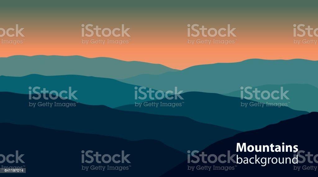 Landscape with mountains and hills. Extreme sports, outdoor recreation background. vector art illustration