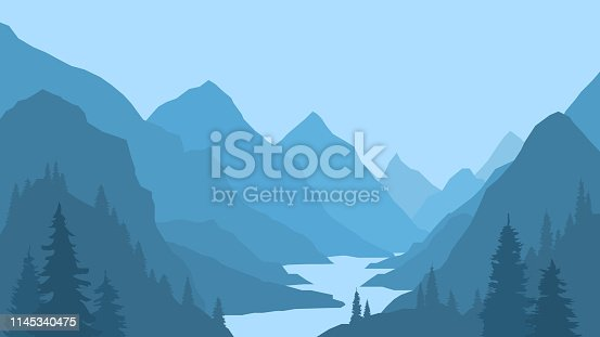 Landscape with mountains and river, view, nature, gorge, clear sky. Pine forest