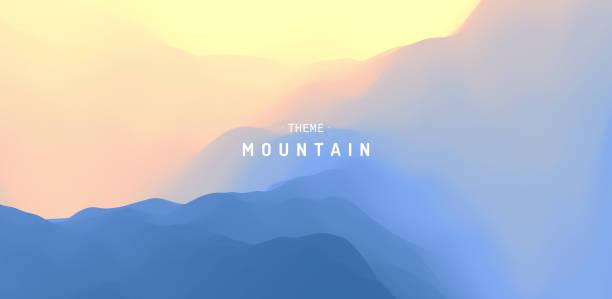 ilustraciones, imágenes clip art, dibujos animados e iconos de stock de paisaje con montañas y sol. amanecer. terreno montañoso. fondo abstracto. ilustración vectorial. - aparición conceptos