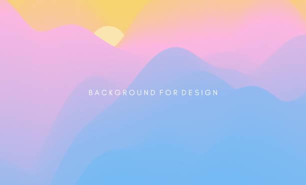 Landscape with mountains and sun. Sunrise. Mountainous terrain. Abstract background. Vector illustration. vector art illustration