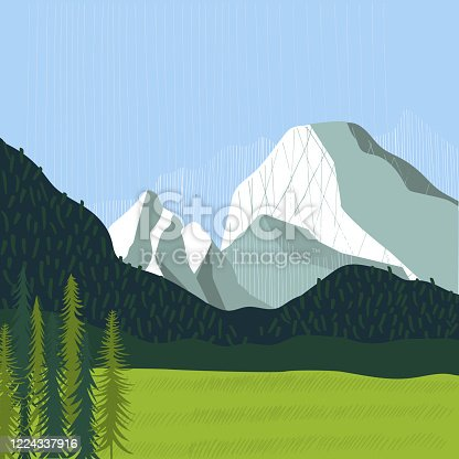 Alps. Landscape with mountains.  Vector illustration.
