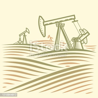 Extraction of oil. Website or label icon