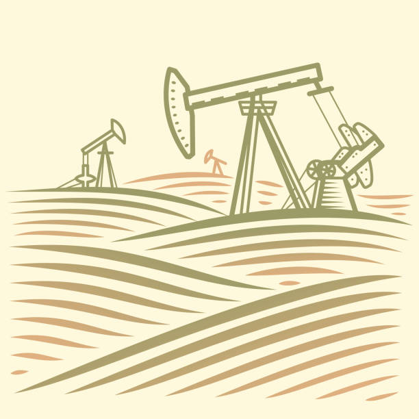 Landschaft mit Ölpumpe. Schwarzes Gold – Vektorgrafik
