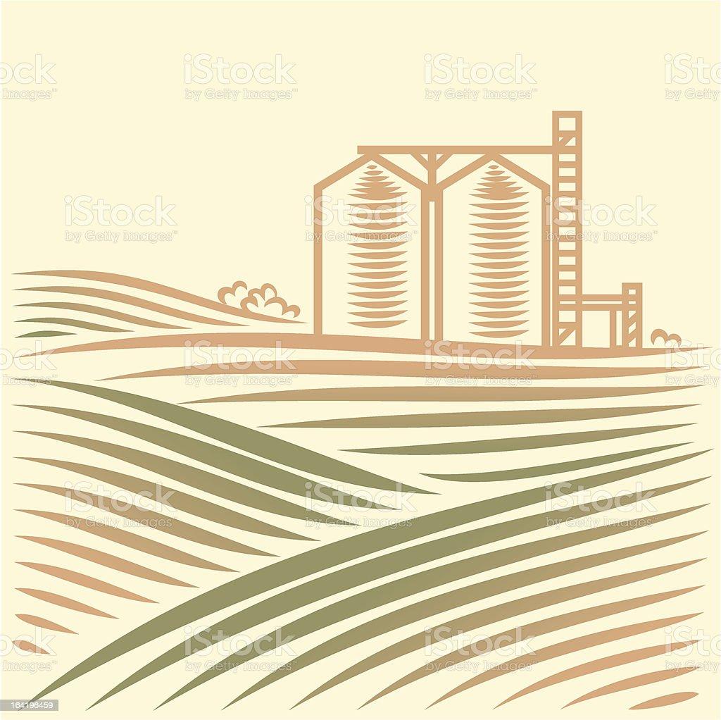 Landschaft mit einem Getreideheber – Vektorgrafik