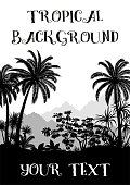 Exotic Landscape, Tropical Palms Trees, Plants, Flowers and Mountains Black and Grey Silhouettes. Vector