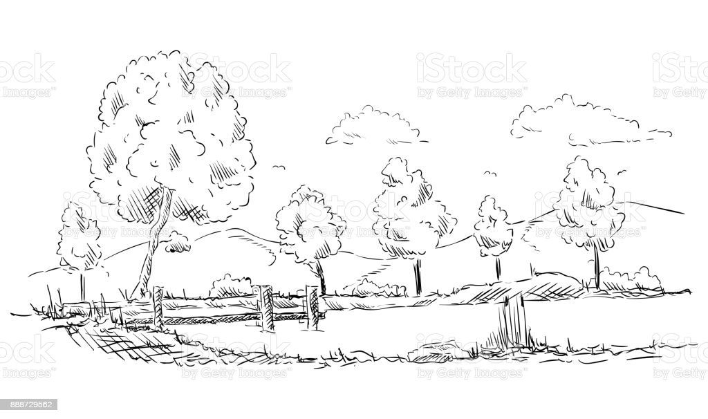 Landscape with pond vector art illustration