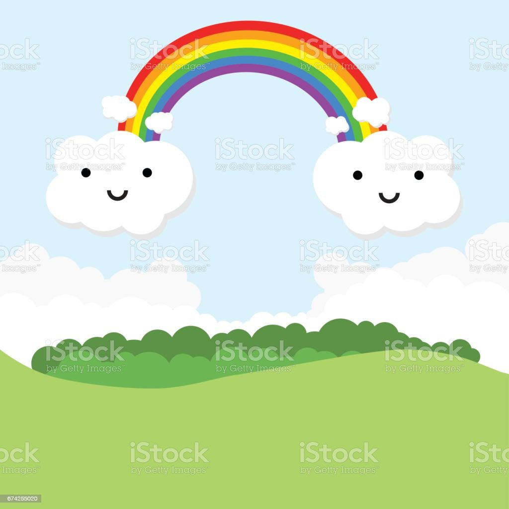 Landscape with rainbow and funny clouds. vector art illustration