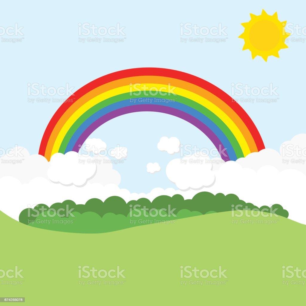 royalty free summer spring sky background with rainbow cartoon clip rh istockphoto com sky clipart free sky clipart free