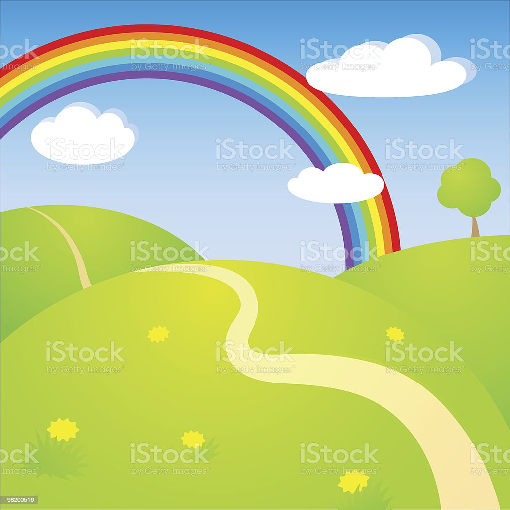 Landscape with rainbow royalty-free landscape with rainbow stock vector art & more images of blue