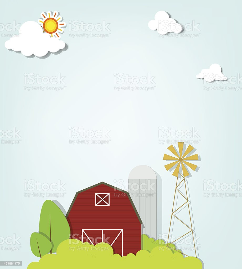 landscape with red farm windmill and silos royalty-free landscape with red farm windmill and silos stock vector art & more images of agriculture