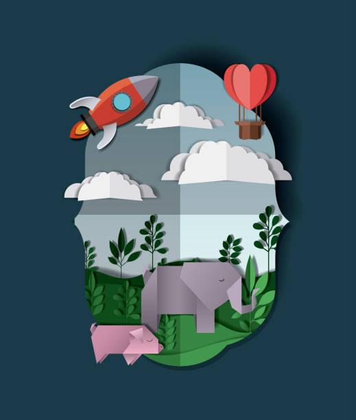 landschaft mit rocket launcher handwerk - reiseliteratur stock-grafiken, -clipart, -cartoons und -symbole