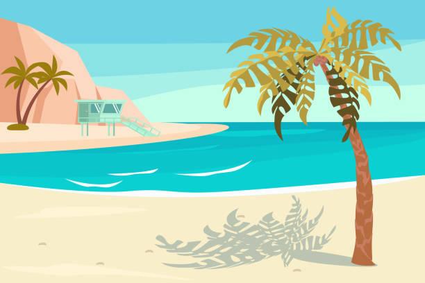 landschaft mit tropischen sandstrand. - buchten stock-grafiken, -clipart, -cartoons und -symbole