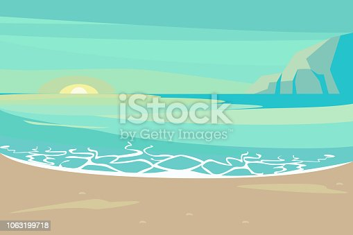 Landscape with sand tropical Beach. Summer Seaside With Palm and rock scene on sunset background. Vector illustration eps 10
