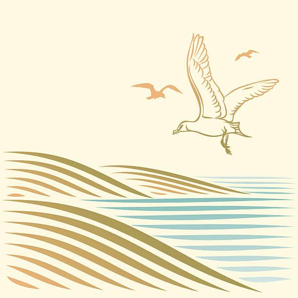 Landschaft mit See und gulls – Vektorgrafik