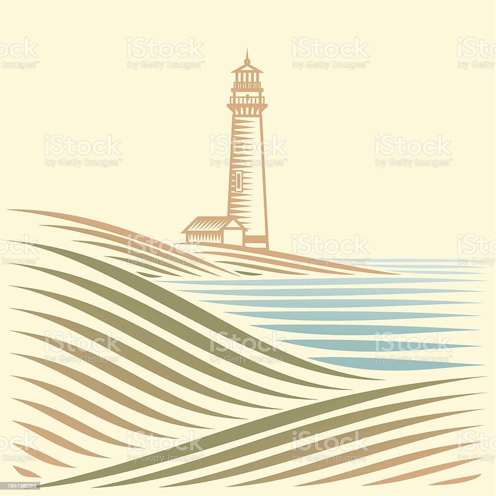landscape with sea and Lighthouse vector art illustration