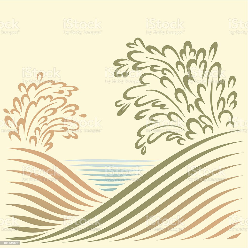 landscape with sea view royalty-free stock vector art