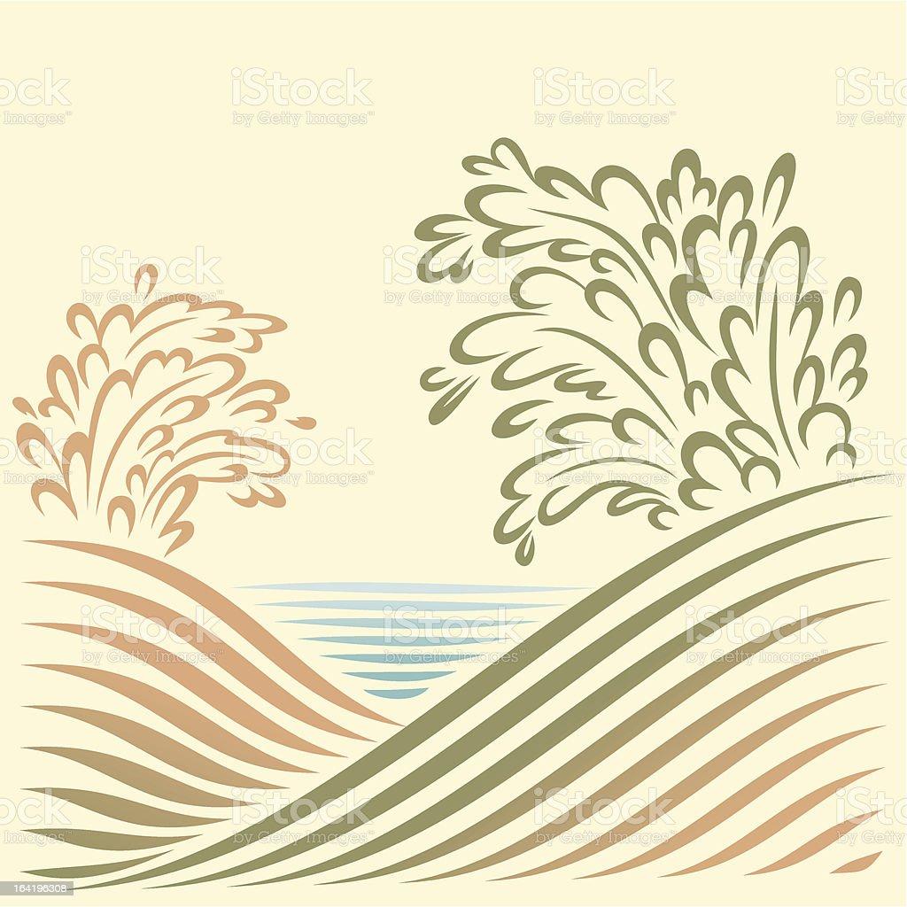 Landschaft mit Blick aufs Meer – Vektorgrafik