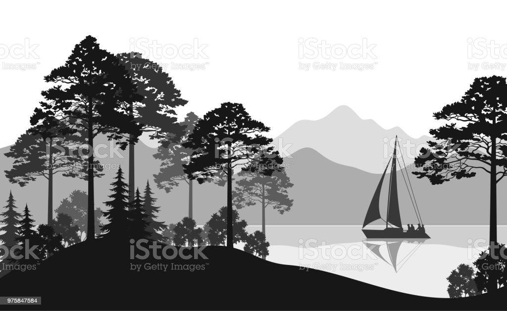 Landschaft mit Schiff auf See - Lizenzfrei Anhöhe Vektorgrafik
