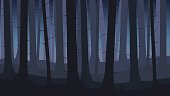 istock Landscape with silhouettes of blue trees in dark night forest - vector illustration 850208320