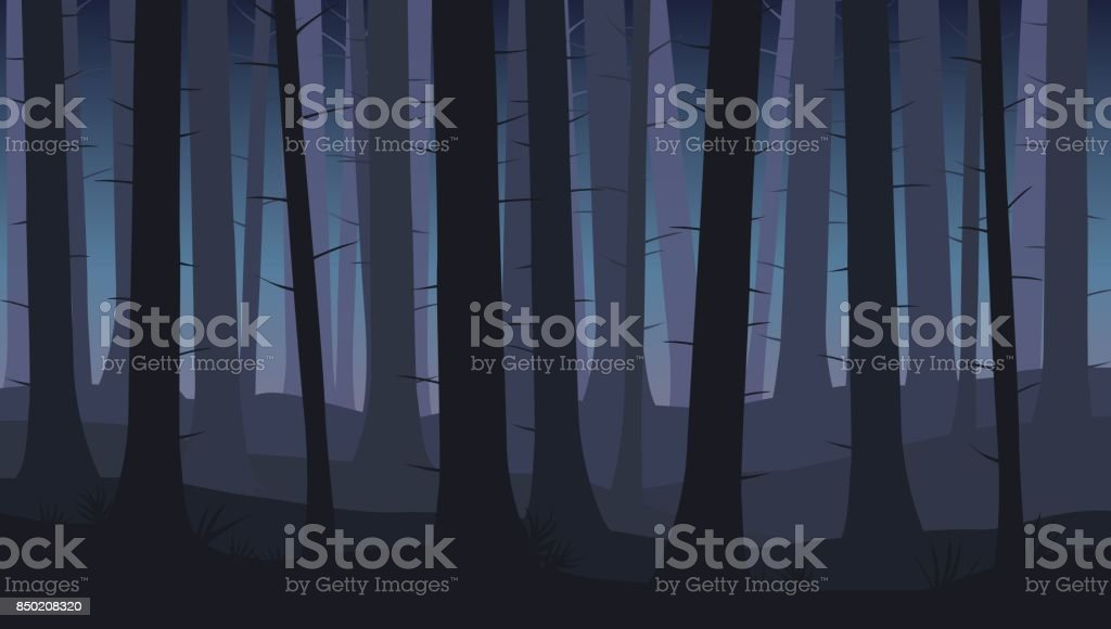 Landscape with silhouettes of blue trees in dark night forest - vector illustration vector art illustration