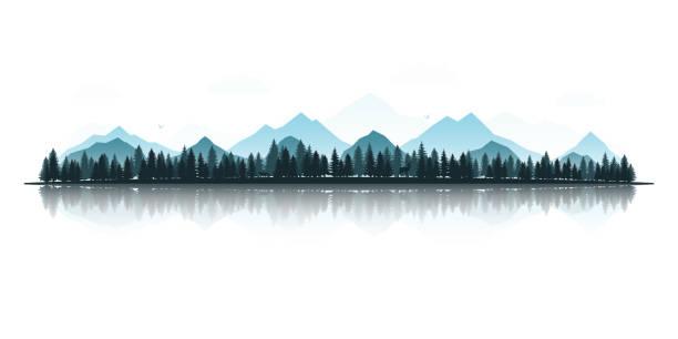 실루엣 사슴, 여우, 독수리, 산과 숲의 풍경입니다. 리플렉션 사용 하 여 파노라마 보기 벡터 일러스트입니다. - 자연 실루엣 stock illustrations