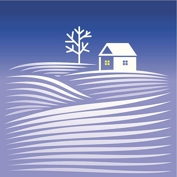 Landschaft mit schneebedeckten Berge und home – Vektorgrafik