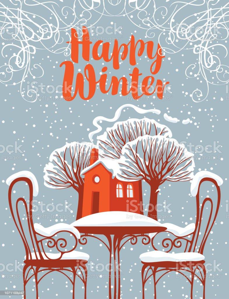 Paysage Avec Terrasse Couverte De Neige Et De La Maison