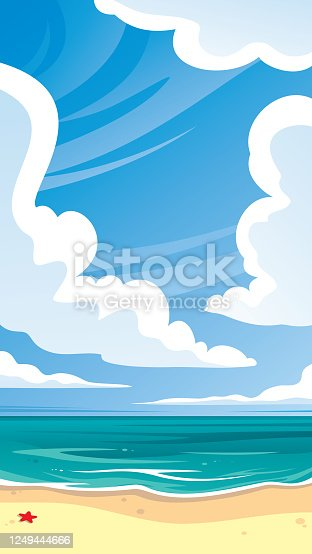 Vector illustration of a landscape with the sea.