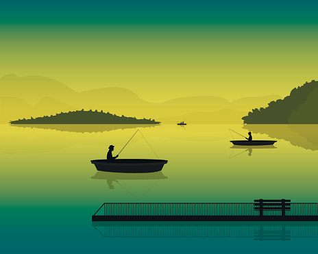 landscape with the silhouette of fishermen in a boat