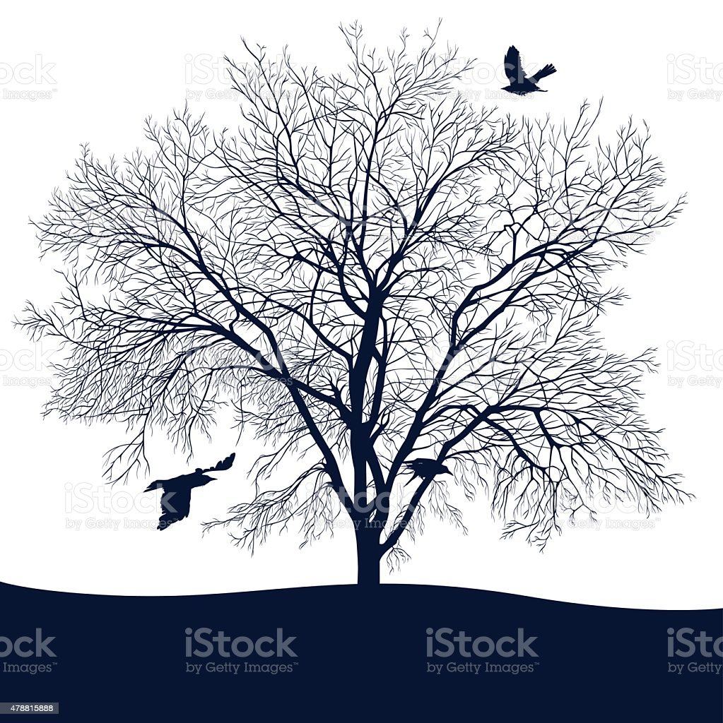 landscape with tree vector art illustration