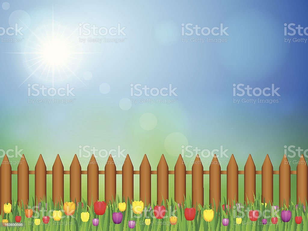 landscape with tulips royalty-free stock vector art
