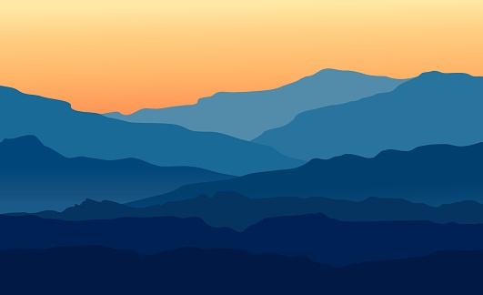 Vector landscape with blue silhouettes of mountains and hills with beautiful orange evening sky. Huge mountain range silhouettes in twilight. Vector hand drawn illustration.