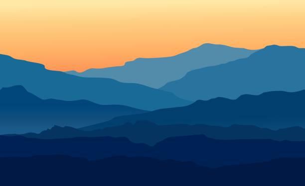 krajobraz z zmierzchem w niebieskich górach - zachód słońca stock illustrations