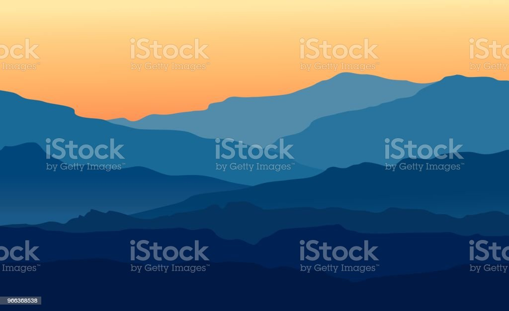 Landscape with twilight in blue mountains vector art illustration