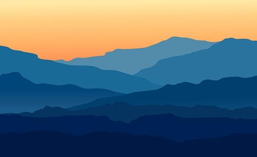 Landscape With Twilight In Blue Mountains - Stockowe grafiki wektorowe i więcej obrazów Białoruś