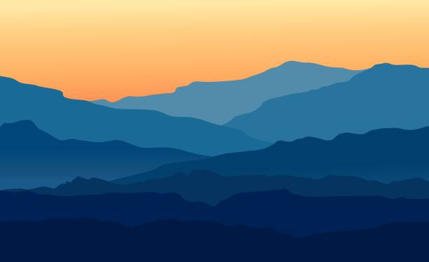 Landscape with twilight in blue mountains Vector landscape with blue silhouettes of mountains and hills with beautiful orange evening sky. Huge mountain range silhouettes in twilight. Vector hand drawn illustration. hill stock illustrations
